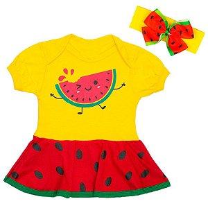 Body Vestido Bebê Luxo Frutinhas Melancia com Faixa de Cabelo