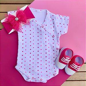 Kit Body Kimono Bebê Bolinhas Rosa com Faixa de Cabelo e Sandália