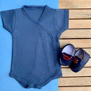 Kit Body Kimono Bebê Azul com Mocassim