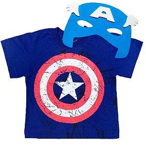 Kit Camiseta Infantil Capitão América com Máscara
