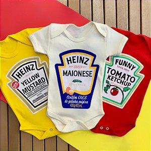Kit Body Bebê Molhos Ketchup, Mostarda e Maionese