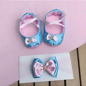 Sapatilha Bebê Laço com Faixa de Cabelo Azul e Rosa