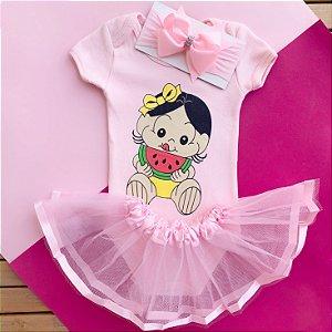 Kit Body Bebê Luxo Tule Magali Baby Melancia Rosa