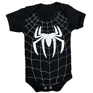 Body Bebê Homem Aranha Preto