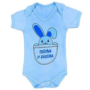 Body Bebê Minha Primeira Páscoa Azul