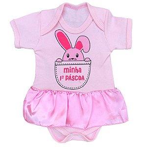 Body Vestido Bebê Minha Primeira Páscoa Rosa