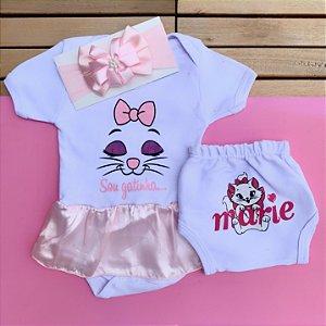 Kit Body Vestido Bebê Gatinha Marie com Tapa Fralda e Faixa de Cabelo