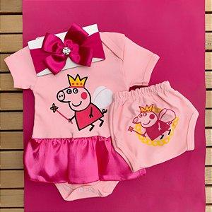 Kit Body Vestido Bebê Peppa Pig com Tapa Fralda e Faixa de Cabelo