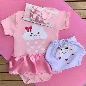 Kit Body Vestido Bebê Nuvem Chuva de Amor com Tapa Fralda e Faixa de Cabelo