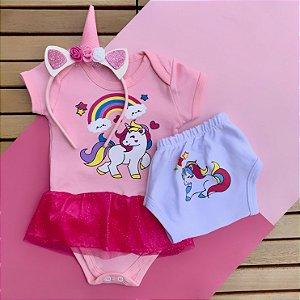 Kit Body Vestido Bebê Unicórnio com Tapa Fralda e Tiara