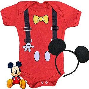 Kit Body Bebê Mickey Suspensório com Tiara Orelhinhas