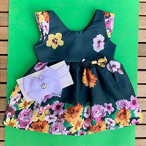 Vestido Floral Verde com Faixa de Cabelo