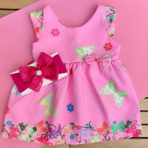 Vestido Floral Rosa com Faixa de Cabelo