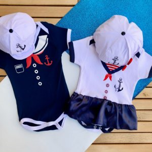 Kit Body Bebê Gêmeos Marinheiro