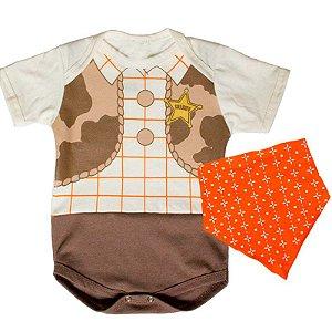 Kit Body Bebê Xerife Cowboy com Lenço Bandana