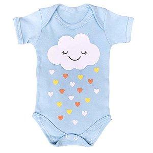 Body Bebê Nuvem Chuva de Amor Azul