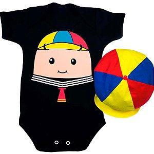 Kit Body Bebê Kiko Rostinho com Boina