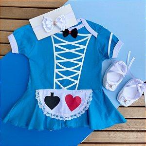 Kit Body Bebê Alice no Pais das Maravilhas com Sapatilha e Faixa de Cabelo