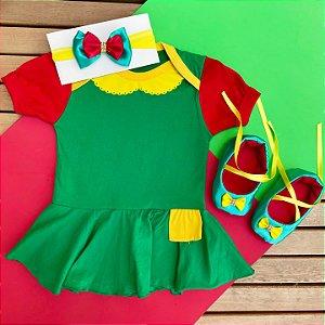 Kit Body Bebê Chiquinha com Sapatilha e Faixa de Cabelo