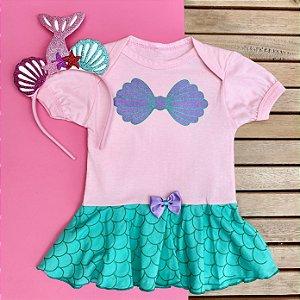 Kit Body Vestido Bebê Luxo Pequena Sereia com Tiara Conchas