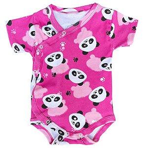 Body Bebê Kimono Manga Curta Panda Rosa