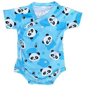 Body Bebê Kimono Manga Curta Panda Azul