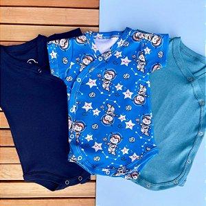 Kit Bebê 3 Body Kimono Manga Curta Astronauta Azul