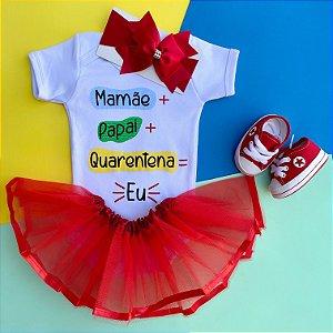 Kit Body Bebê Luxo Quarentena e Tênis Vermelho