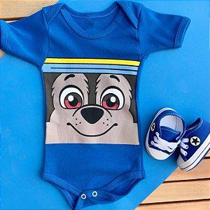 Kit Body Bebê Chase Patrulha Canina e Tênis Estrelinha Azul