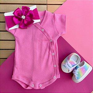 Kit Body Kimono Bebê com Faixa de Cabelo e Tênis Rosa Tie Dye