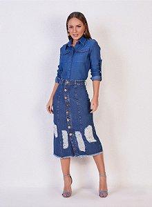 Saia Jeans Midi