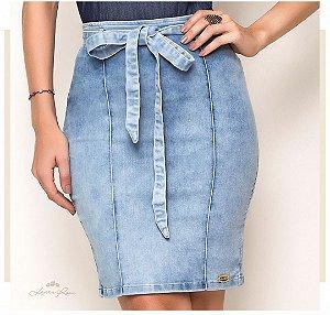 Saia Lápis Laura Rosa Jeans