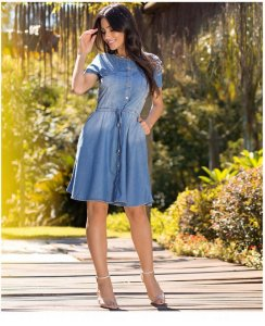 Vestido Jeans Godê Laura Rosa