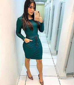 Vestido Malha Manga Longa Laura Rosa