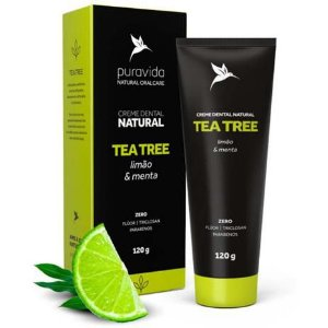 CREME DENTAL TEA TREE LIMAO E MENTA PURA VIDA 120G