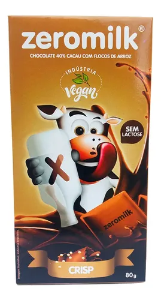 Chocolate 40% cacau com flocos de arroz ZERO MILK 80g