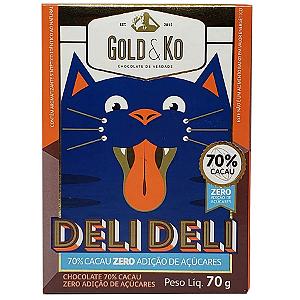 Chocolate 70% cacau zero açúcar Gold&Ko 70g