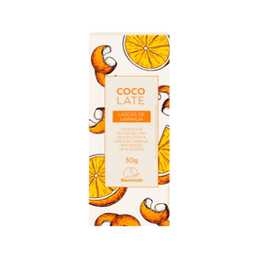 Chocolate com leite de coco 55% cacau com lascas de laranja MAMMOTH 30g