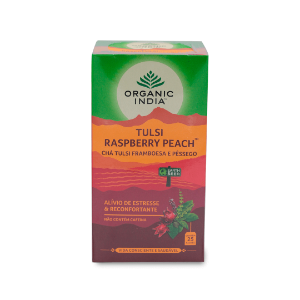 Chá Tulsi Framboesa e Pêssego Organic India 47,5g
