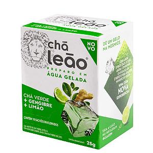 Chá Preparo gelado Chá Verde + gengibre sabor limão Chá Leão 25g