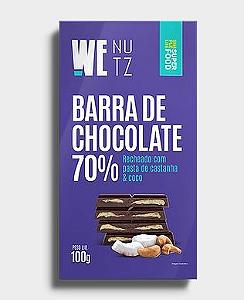 Barra de chocolate 70% com pasta de castanha e coco Wenutz 100g
