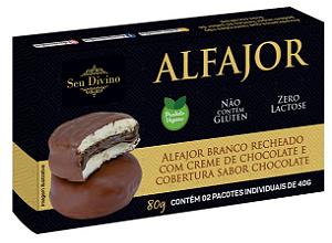 ALFAJOR BRANCO RECHEADO COM CREME DE CHOCOLATE E COBERTURA SABOR CHOCOLATE SEU DIVINO 80G
