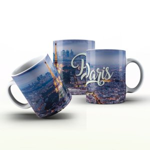 Caneca Personalizada Lugares   - Torre Paris noturno