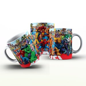 Caneca Personalizada Heróis  - Multidão de Heróis  Marvel