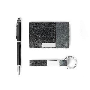 Kit de porta cartões, chaveiro e esferográfica Personalizado