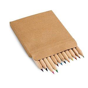 Caixa de cartão com 12 mini lápis de cor Personalizado
