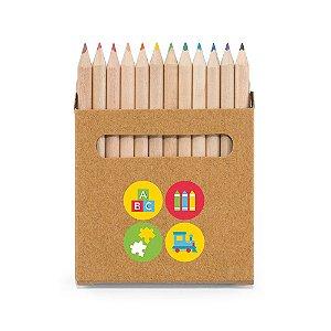COLOURED. Caixa de cartão com 12 mini lápis de cor Personalizado