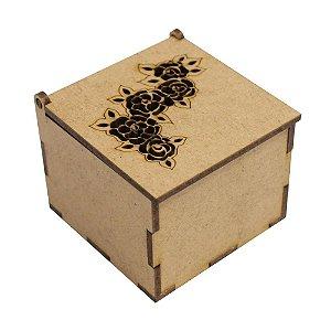 Caixa Quadrada Biju ou Lembrancinha Flor 6x6x5 Laser Mdf Madeira
