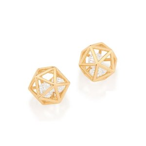 Brinco icosaedro folheado a ouro com zircônias