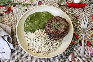 Hambúrguer com creme de espinafre e arroz integral com chia (glúten free) - 400g